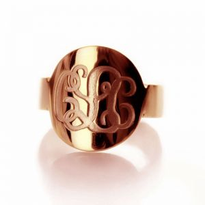 Solid Rose Gold Engraved Monogram Initial Ring