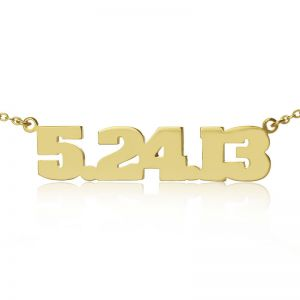 Personalized Solid Gold Lucky Number Necklace