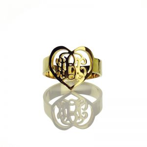 Handmade Heart Shape 3 Initials Monogram Ring Gold Plated -0.59
