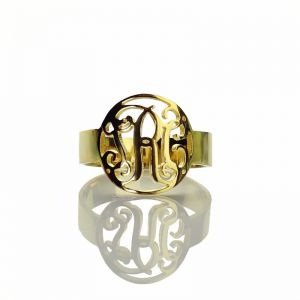 Circle Monogrammed Ring Gold Plated 925 Silver -0.59