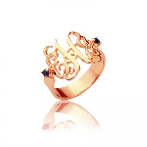 Women's Monogram Ring with Birthstone Rose Gold