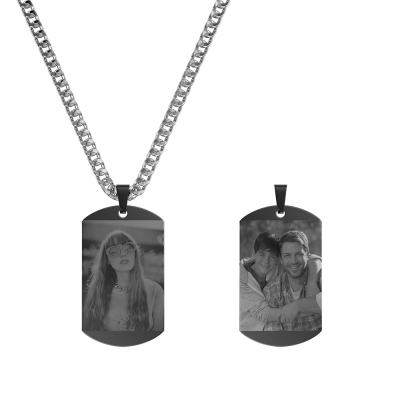 Custom Double-Sided Photo Black Titanium Dog Tag Necklace