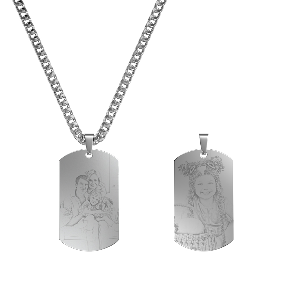 Personalized Double-Sided Photo-Engraved Black Titanium Necklace