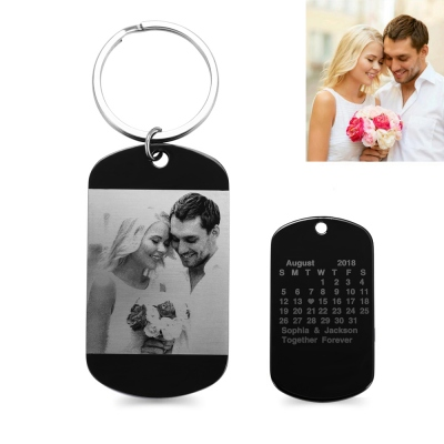 Personalized Stainless Steel Photo & Calendar Dog Tag KeyChain