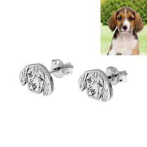 Personalized Pet Photo Stud Earrings in Silver