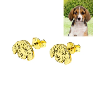 Personalized Pet Photo Stud Earrings in Gold