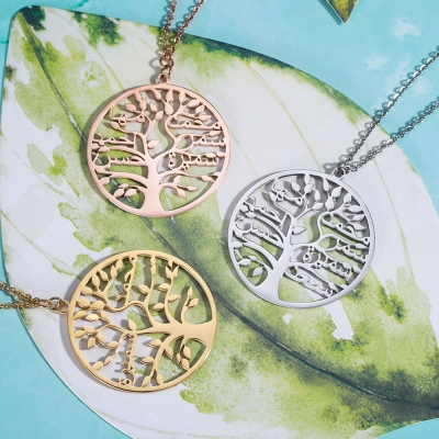 family tree name necklace
