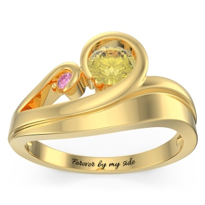 Personalized Swirling Promise Ring in Gold