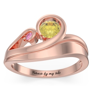 Personalized Swirling Promise Ring in Rose Gold