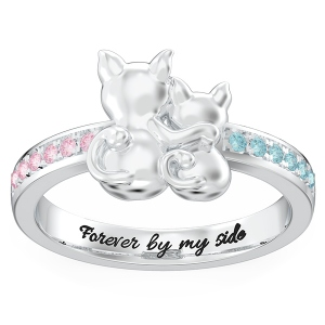 Personalized Couple Cats Promise Ring in Silver