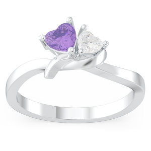 Couple Twisted Heart Birthstone Promise Ring in Silver