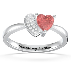 Personalized Heart in Heart Promise Ring with Birthstone in Silver