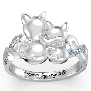Personalized Couple Cats Ring with Birthstone in Silver