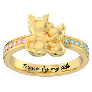 Personalized Couple Cats Promise Ring in Gold