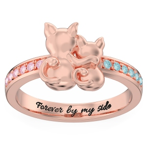 Personalized Couple Cats Promise Ring in Rose Gold