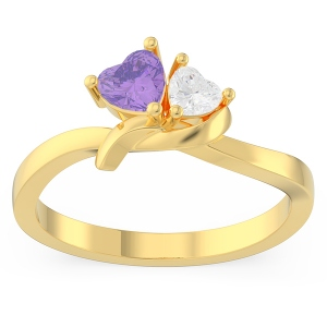 Couple Twisted Heart Birthstone Promise Ring in Gold