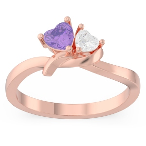 Couple Twisted Heart Birthstone Promise Ring in Rose Gold