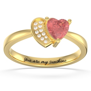 Personalized Heart in Heart Promise Ring with Birthstone in Gold
