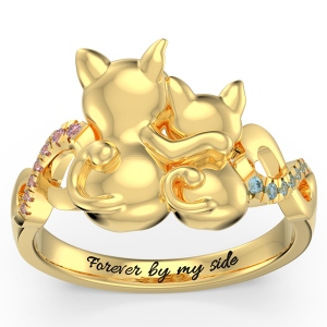 Personalized Couple Cats Ring with Birthstone in Gold
