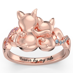 Personalized Couple Cats Ring with Birthstone in Rose Gold