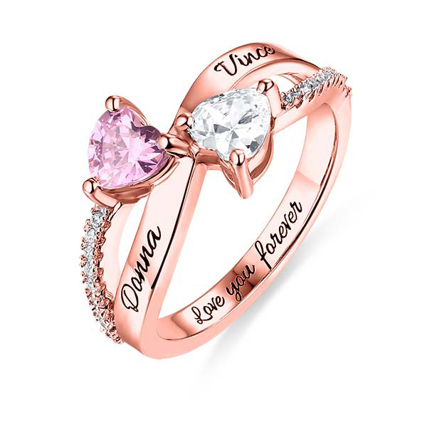 430c0b3531f92 Engraved Two Heart Shaped CZ Ring In Rose Gold