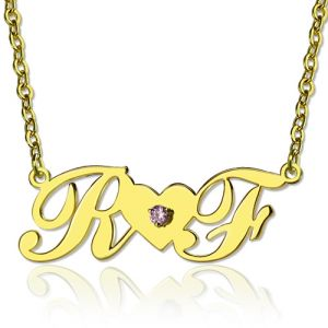 18K Gold Plated Two Initials Birthstone Heart Necklace