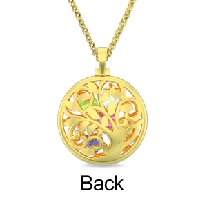 Round Cage Family Tree Birthstone Necklace Gold Plated