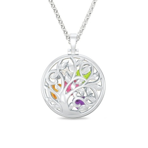 Gorgeous Platinum Plated Round Cage Family Tree Birthstone Necklace