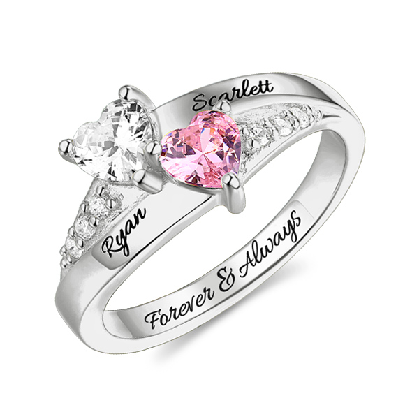 Personalized Engraved Double Heart Birthstone Promise Ring