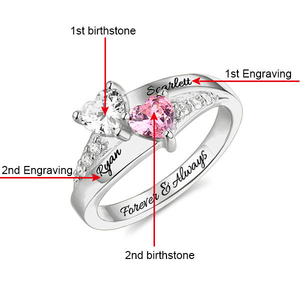 ed4864de2e Personalized Engraved Double Heart Birthstone Promise Ring with Rose Ring  Box
