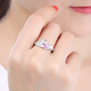 Personalized Engraved Double Heart Birthstone Promise Ring with Rose Ring Box