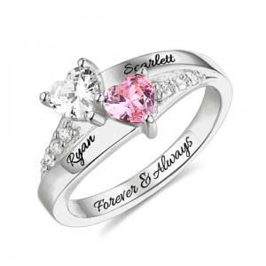 Engraved Double Heart Birthstone Name Ring Sterling Silver