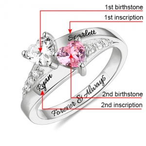 Shinning Engraved Double Heart Birthstone Ring Sterling Silver
