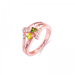 Engraved Mother's Princess-Cut Birthstone Ring Rose Gold