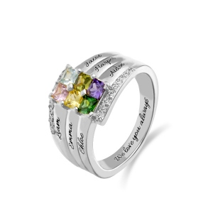 Personalized Stacking Ring with Six Birthstone in Silver