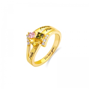 Engraved Mother's Princess-Cut Birthstone Ring Gold