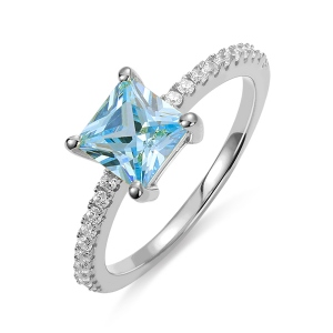Princess-Cut Birthstone Ring in Silver