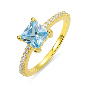 Princess-Cut Birthstone Ring in Gold