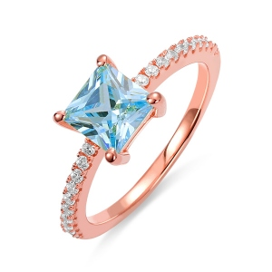 Princess-Cut Birthstone Ring in Rosegold