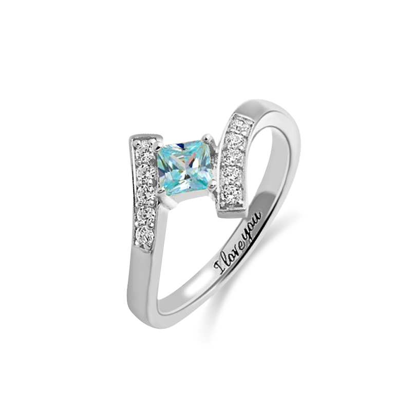 Engraved Princess-Cut Birthstone Ring Sterling Silver