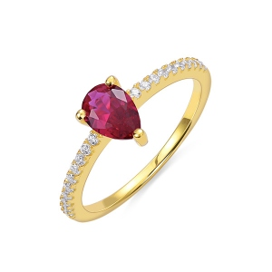 Water Drop Birthstone Ring in Gold