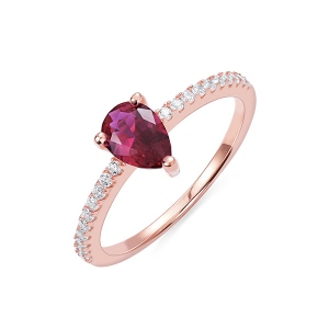 Water Drop Birthstone Ring in Rosegold