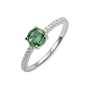 Round Birthstone Ring in Silver