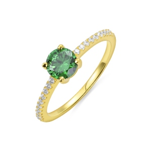 Round Birthstone Ring in Gold