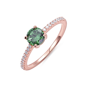Round Birthstone Ring in Rosegold