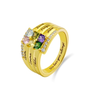 Personalized Stacking Ring with Six Birthstone in Gold