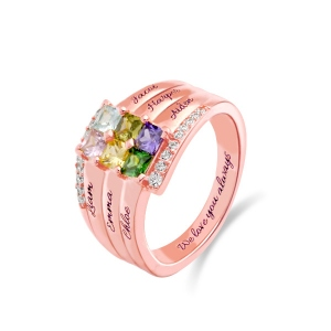 Personalized Stacking Ring with Six Birthstone in Rose Gold