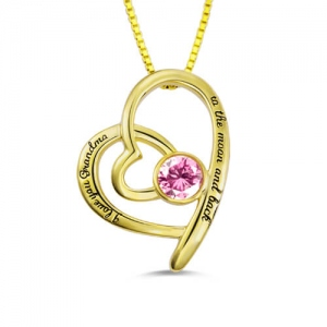 Custom Birthstone Heart Necklace For Grandma Gold Plated