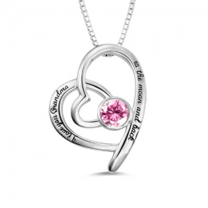 Engraved Birthstone Heart Necklace For Grandma Sterling Silver