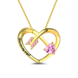 Personalized Love Arrow Birthstone Heart Necklace Gold Plated